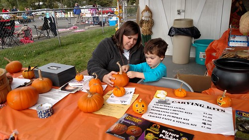 St. Paul UMC Fall Fair - Amy and Sagan Decorate Pumpkin