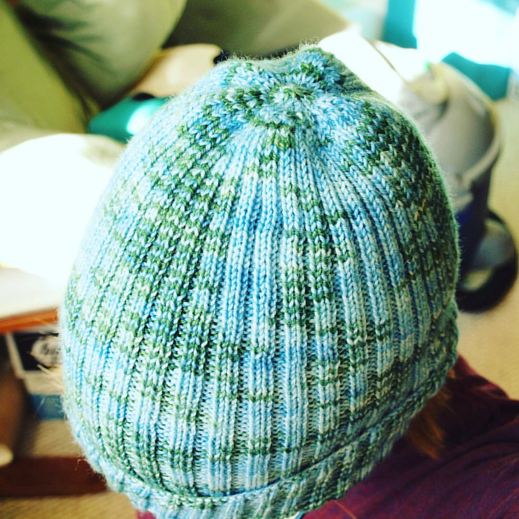 Top of the hat. Not 100% sure if I love the way I decreased but it worked, so whatever.