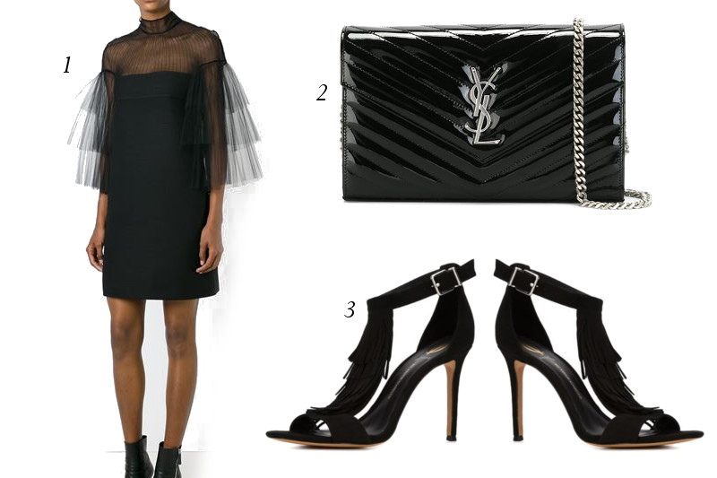 Black-Cocktail-dress-YSL-bag-fringe-sandals-1
