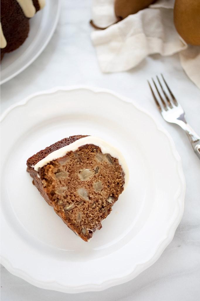 slice of pear cardamom cake on plate