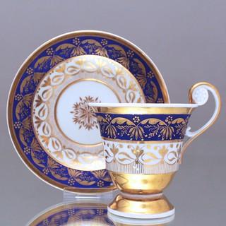 KPM, Berlin, Tasse, Rosettenhenkel, Prunktasse, 1800, Gold, Blau, matt, radiert