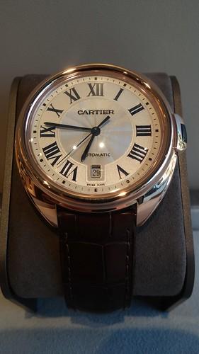 "Cartier ""Cle"" 18 karat rose gold, 40mm, automatic movement.  $18,800.00"