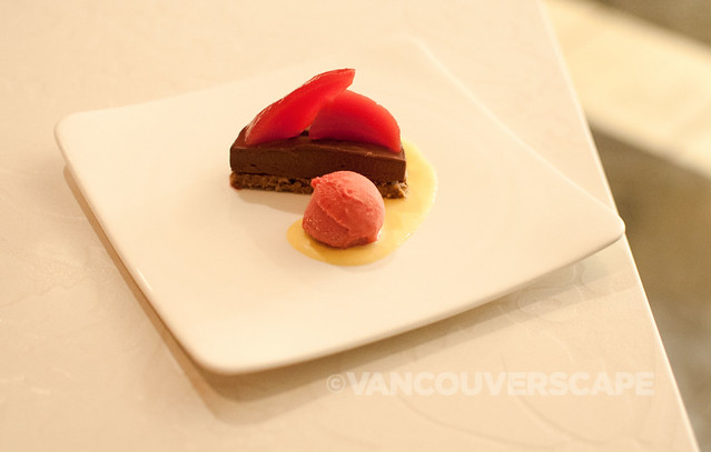 West/Chocolate torte, strawberry poached pears