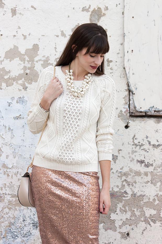 Gap Sweater, Sequin Skirt, Zara Pearl Necklace