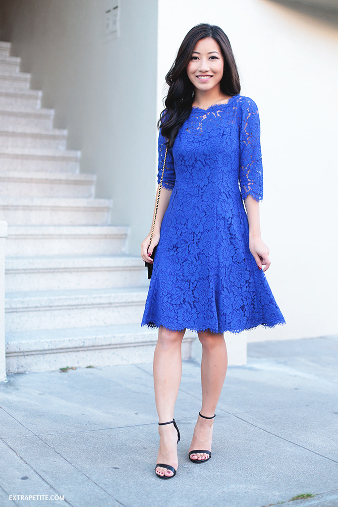 eliza j blue lace dress petite