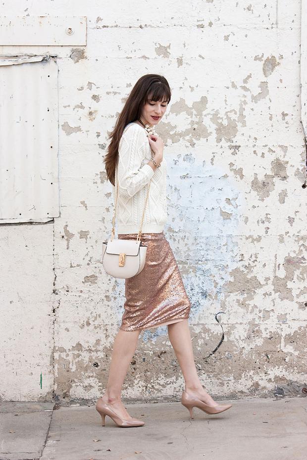 Sequin Pencil Skirt, Nude Heels, Chloe Bag, Cream Sweater