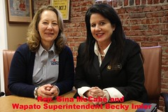 Rep. Gina McCabe and Wapato School District Superintendent Becky Imler