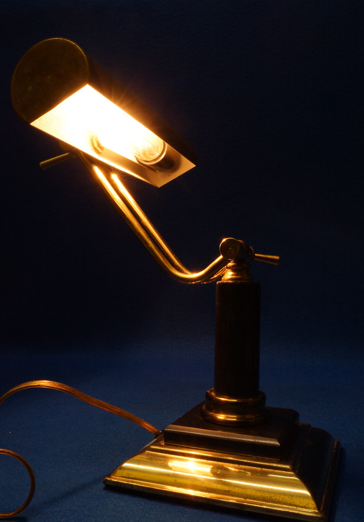 RD15125 Vintage Brass & Marble Bankers Desk Piano Portable Lamp Light Adjustable Arm with Bulb DSC08284