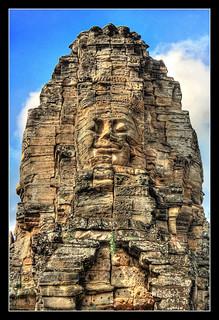Siem Reap K - Bayon stone face 01