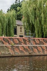 Water patterned brickwork by Wharfside pub at Thornes Lane Wharf
