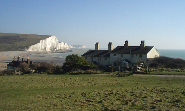 The Seven Sisters and cottages