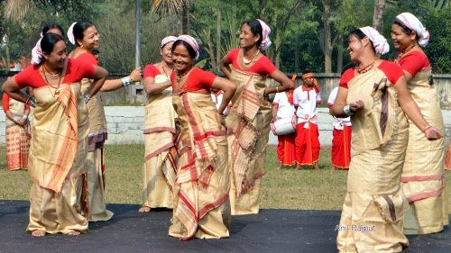 Sonowal Kachari ladies performing Bihu , Majuli Island