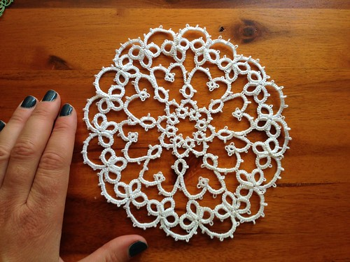 Needle tatted doily in progress