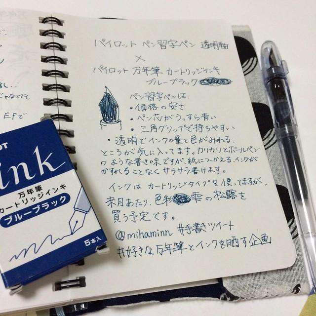 ペン習字ペンとカートリッジインク