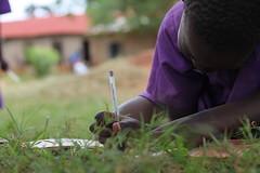 Girl doing her school work in Kamuli, Eastern Uganda