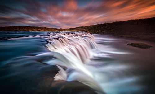 longexposure sunset color nature water beautiful clouds sunrise landscape outdoors is waterfall iceland nikon mood south scenic dramatic atmosphere arctic nordic flowing ultrawide d800 goldencircle faxi vatnsleysufoss sandinavia 1424mmf28