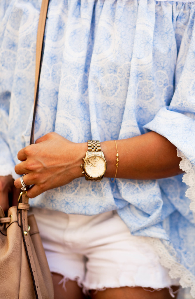 cute & little blog | petite fashion | floral off-shoulder lace top, gorjana nesa bracelet, kors boyfriend watch | summer outfit
