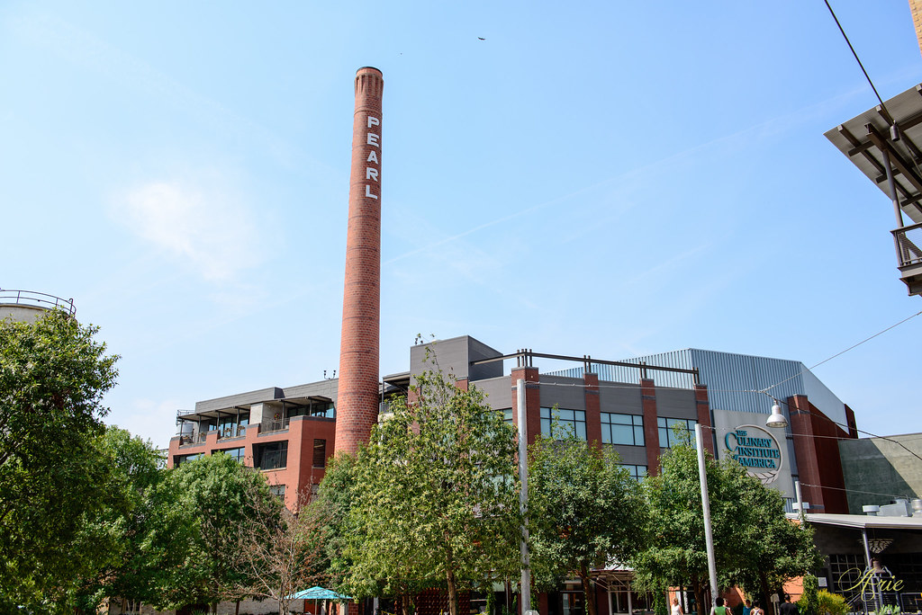 The old Pearl Brewery smokestack