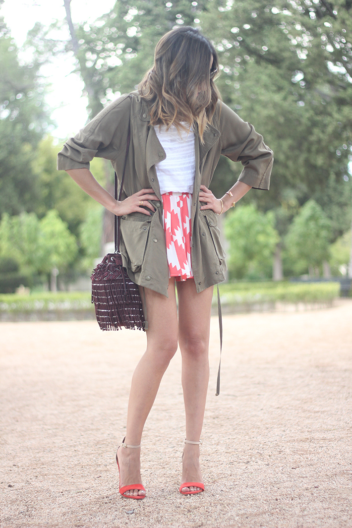 Green Parka White Top Pepe Jeans Shorts Coral Sandals Heels Outfit06