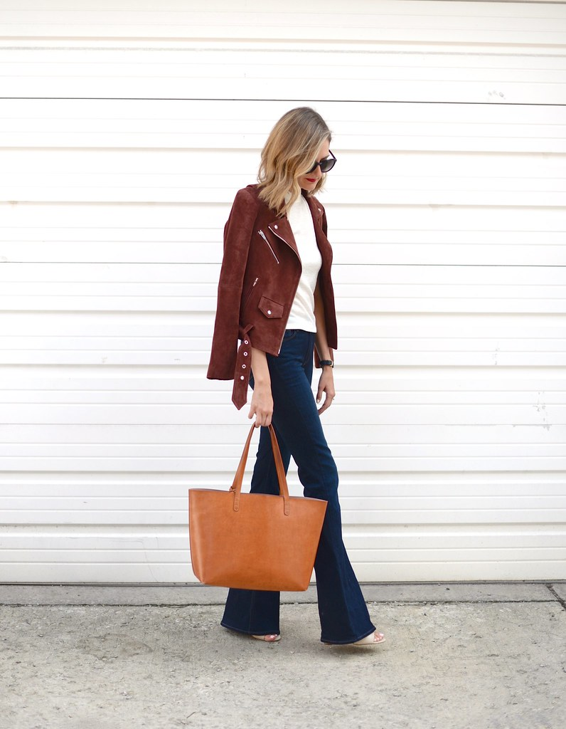 suede jacket outfit, flare jeans
