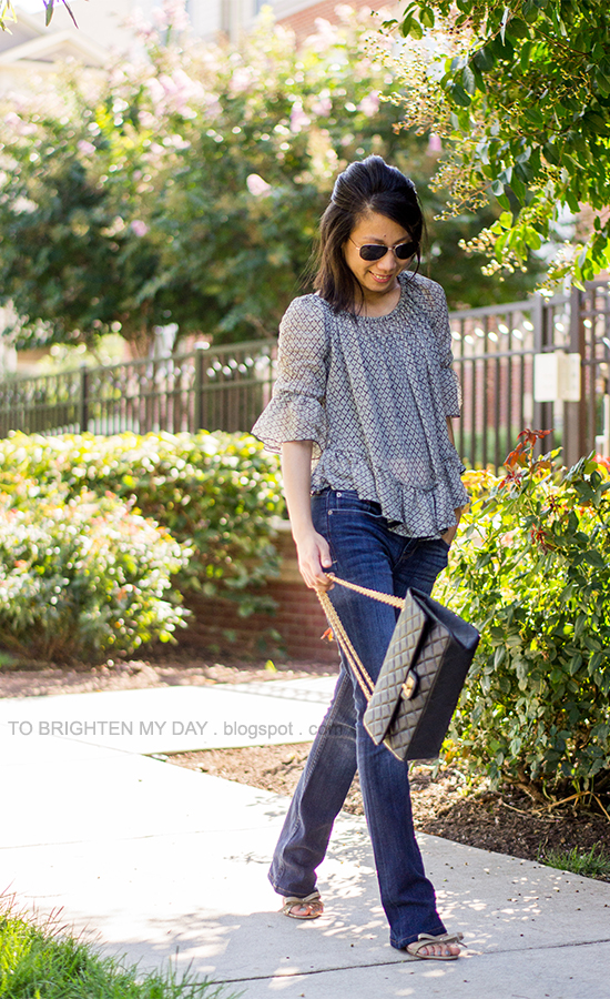 patterned ruffled top, boot cut jeans, bow sandals