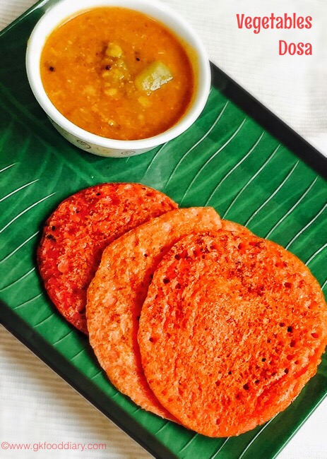 Vegetables dosa for baby