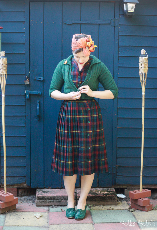 Vintage Sporteens fall plaid skirt and vest set