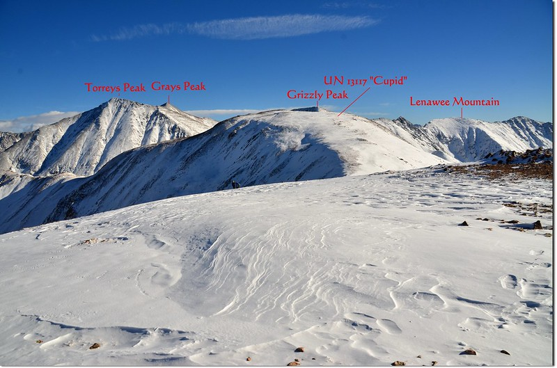 Looking southeast onto Grays, Torreys, Grizzly & Cupit from the 12,915' Point 3-1