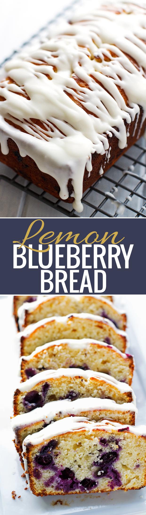 Lemon Blueberry Bread - A moist lemon poundcake studded with fresh juicy and plump blueberries! #blueberrybread #blueberrycake #poundcake #lemoncake #lemonblueberrycake | Littlespicejar.com