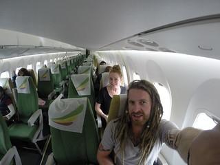 The emptiest flight we've ever been on.  Ethiopian Airline.