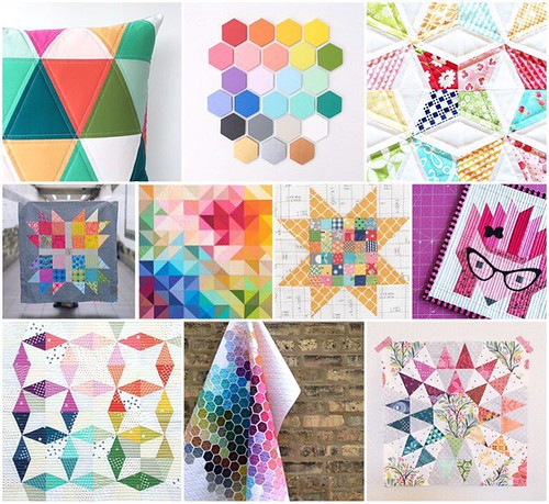 dear swap partner, these are a few of my favorite things. i'm not hard to please. i love color, obviously. and according to this collage, i am drawn to all the common quilty shapes; hexagons, squares, and triangles. even though you probably don't know wha