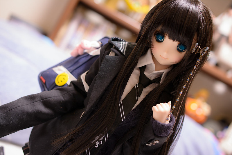 high school girl with black long hair
