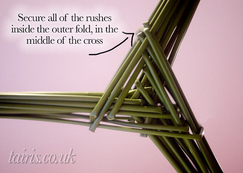 Secure all of the rushes inside the outer fold in the middle of the cross