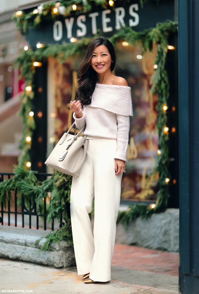 petite fashion cream wide leg pants outfit