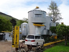 Little River motel on the Banks Peninsula. Architecture based on farm grain silos. Called Silostay. Unique and different.