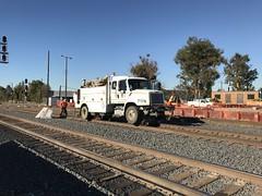 Hi-rail and working on the tracks