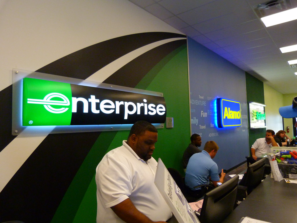 Enterprise, Alamo and National Car Rental Counter