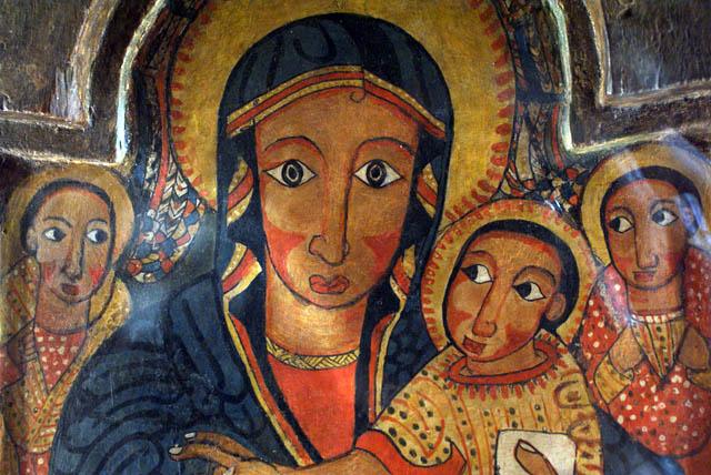 Vierge Marie et Jésus dans une peinture ethiopienne du Muzeum Narodowy de Varsovie.