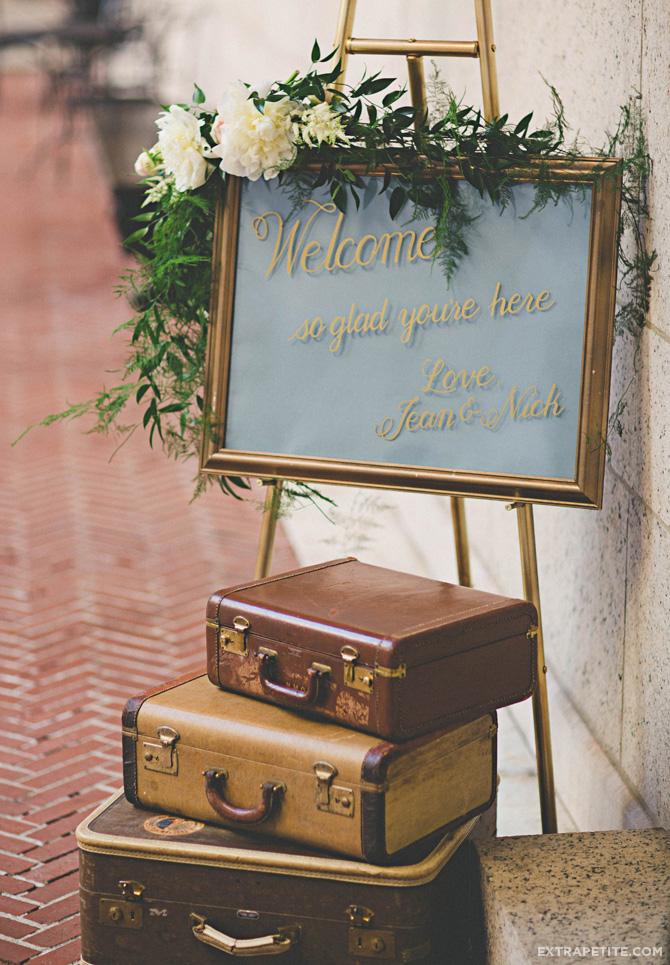 boston library wedding vintage suitcases welcome sign