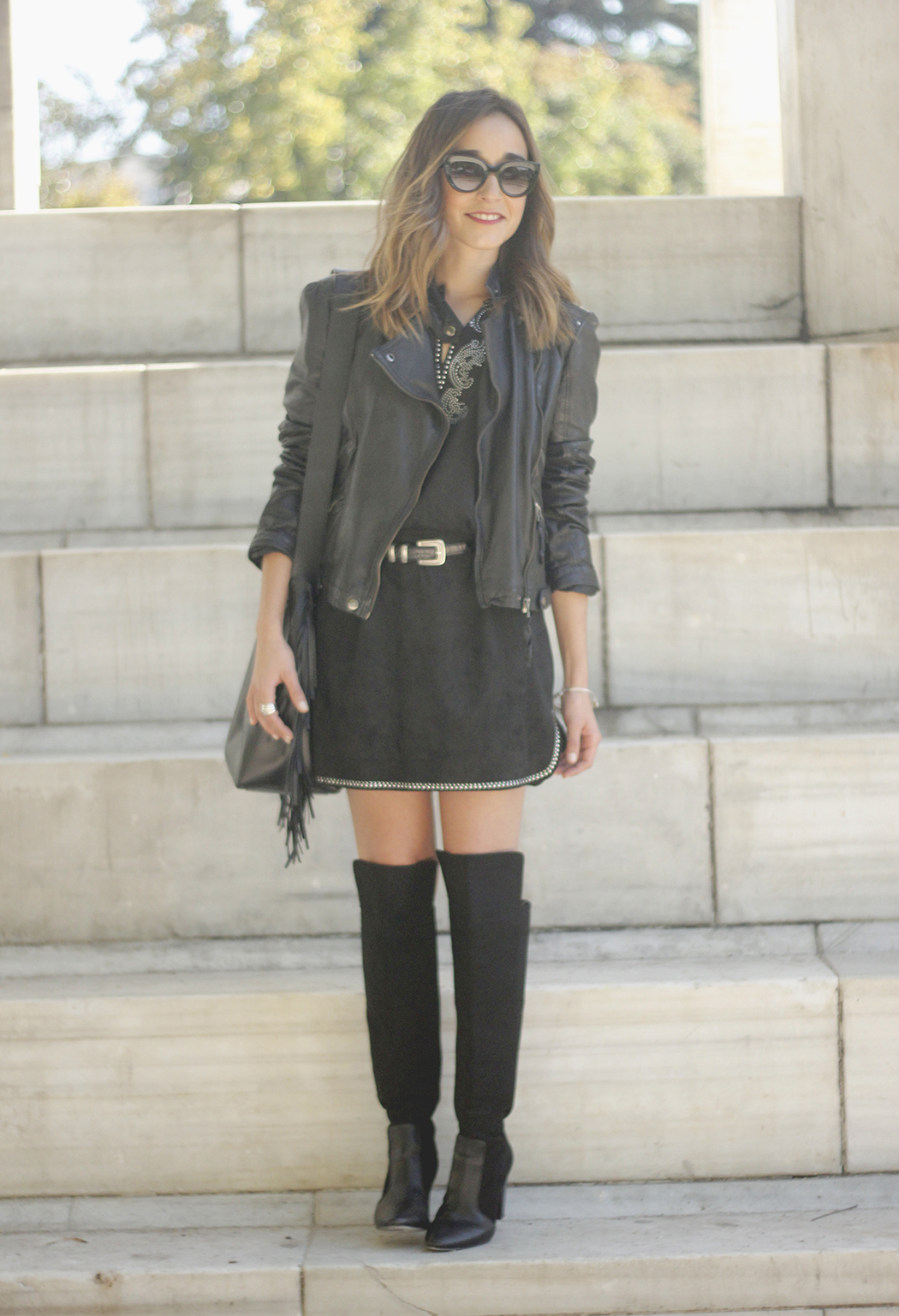 Black Leather jacket With Suede Black Dress Over the knee boots23