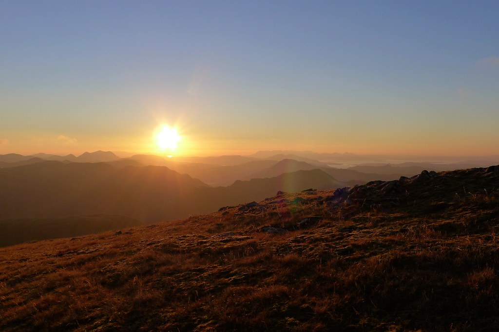 Sunset from Sgùrr nan Ceathreamhnan