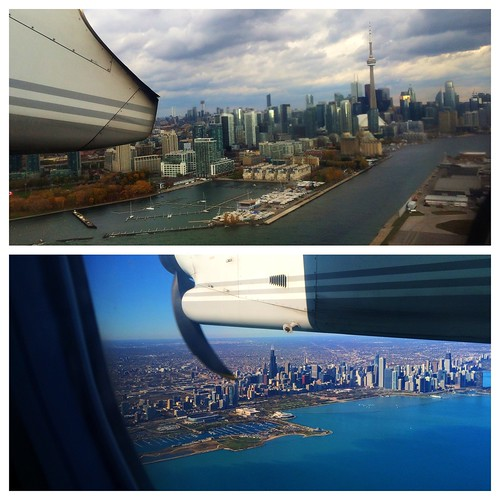 Nice views leaving Toronto and arriving in Chicago today.