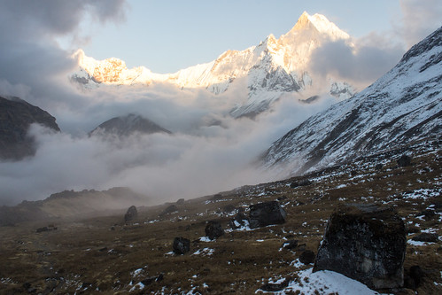nepal sunset camp fog clouds trek np base annapurna himalayas 2012 annapurnabasecamp ghandruk westernregion