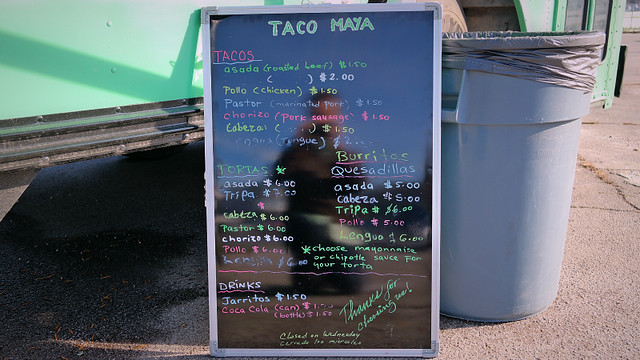 Menu Taco Maya Truck in Des Moines, Iowa