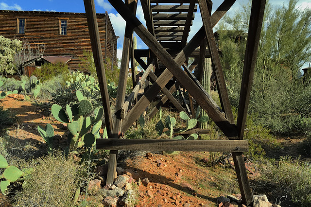 Narrow-gauge copper mining railway trestle - Goldfield Ghost Town, Apache Junction, Arizona