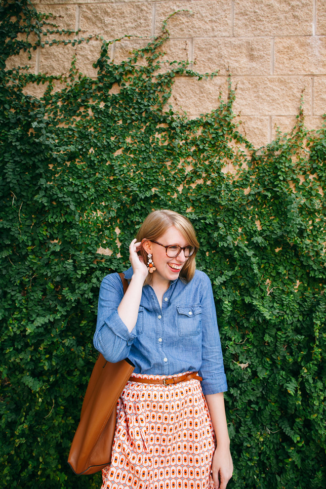 geo print skirt chambray shirt2
