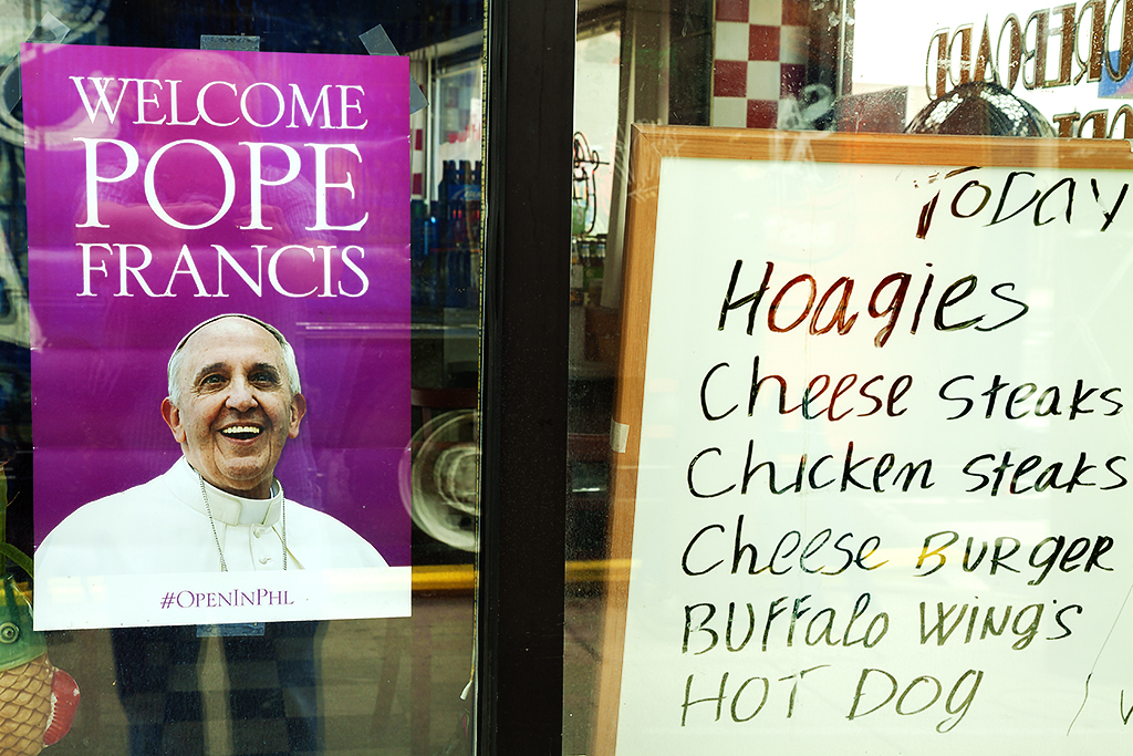 WELCOME POPE FRANCIS TODAY HOAGIES CHEESE STEAKS--Italian Market