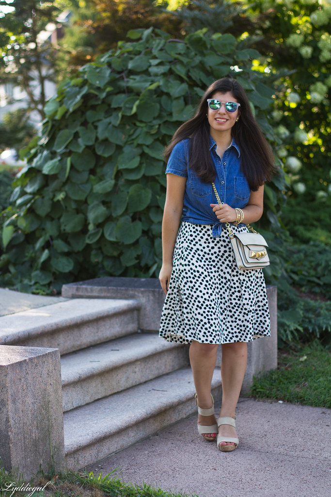 knotted chambray shirt, dalmatian print skirt, linea pelle bag-2.jpg