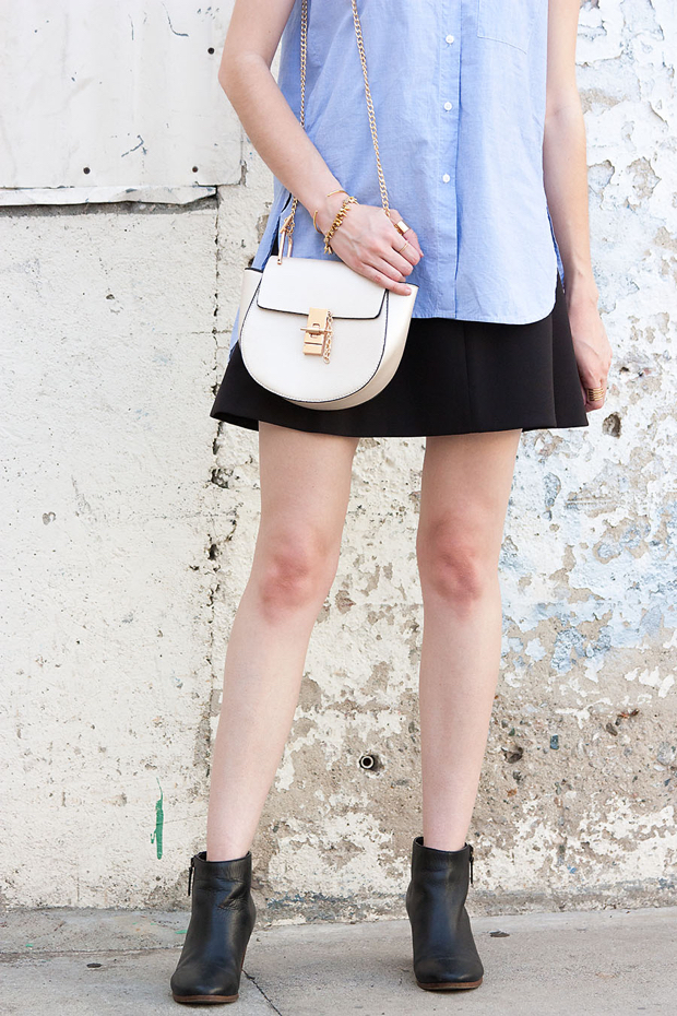 Chloe Drew Bag, Black Ankle Booties, Madewell Shirt, J.Crew Skirt