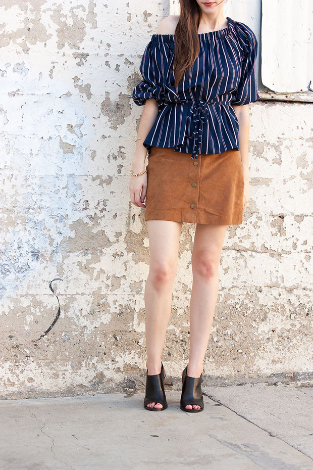 Storets Jade Cold Shoulder Top, Asos button front suede skirt, open toed mules